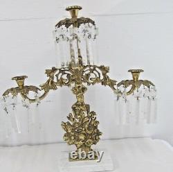 Hollywood Regency Pair Candle Holders Crystal PRISMS Marble Heavy Cast Metal