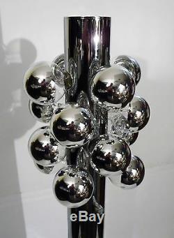 ITALIAN HEAVY CHROMED STEEL CYLINDRICAL FLOOR LAMP 16 BULB by REGGIANI 1968