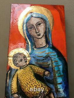 Italian Art Pottery Wall Plaque Tile Fantoni Desimone Era Mid Century Modern