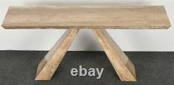 Italian Modernist Travertine Console Table Mid Century Modern Minimalist
