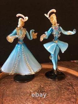 Italian Murano Glass Courtesan Figurine male and female blue figures male A/ F