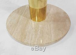 Italian Pace Collection Brass Glass Stand Stone Side Table Hollywood Regency