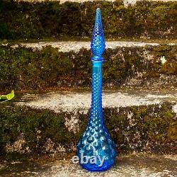 Italian Vintage EMPOLI Gentian Blue Glass Bubble Texture Genie Bottle Decanter