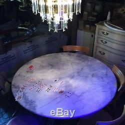 Italian White Marble 5' Round Dining Table Slab Bullnose Mid Century Modern