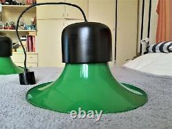 JOE COLOMBO Vintage CAMPANA Ceiling Lamp by STILNOVO Green Hat 1970 Chandelier