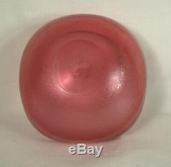 Large CARLO SCARPA 1930s Red CORROSO Art Glass Bowl VENINI MURANO ITALY -Signe