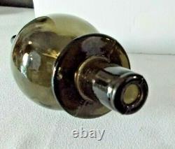 Large Smoke 26 Vintage Italian Empoli Style Genie Bottle Decanter Glass Décor