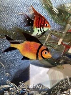 Large Vintage Murano Art Glass Fish Aquarium with jellyfish original sticker