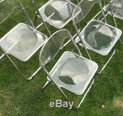 Lot (6) Vintage Mid Century Modern Italian Chrome and Lucite Folding Chair Used