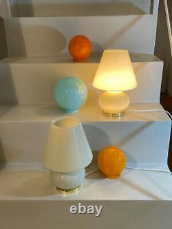 Lovely yellow mushroom lamps blown Murano glass lampada fungo vintage 60s