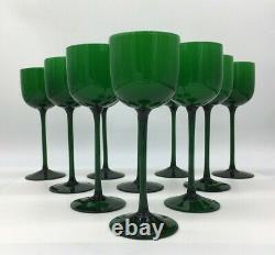 MCM Carlo Moretti Wine Glasses 10 Emerald Green and White Blown Cased Glass