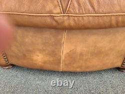 MCM Italian Leather Club Lounge Chair with Ottoman by SOFT LINE LEATHER