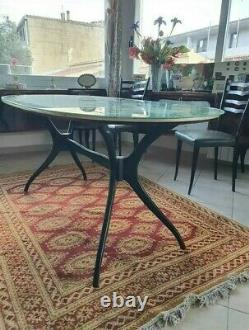 MID CENTURY sculptural ICO PARISI Dining Table 6 chairs Mahogany Italy 1950s