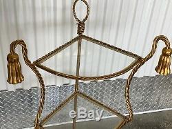 MID Century Hollywood Regency Italian Gilt Twisted Rope & Tassel 3 Tier Etagere