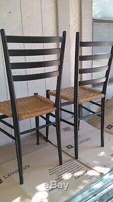 MID Century Italian Modern Gio Ponti Ladder Back Rope Seat Black Painted Chair