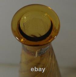 MID Century Italy Empoli Swirl Genie Decanter Bottle Flame Stopper Swirl 26