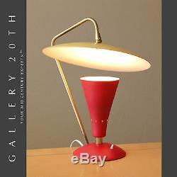 MID Century Modern Reflector Saucer Lamp! Atomic Arteluce Italian Vtg Red 50 Ufo