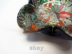 MURANO Art Glass BOWL ASH TRAY Black Cased FoldedSilver FoilTutti Frutti