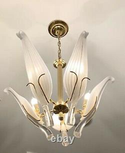 MURANO Franco Luce Seguso Art Glass Chandelier Italian Brass Dorothy Draper Era