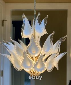 MURANO Italian Art Glass Chandelier Brass Calla Lily Shade Camer Italy White