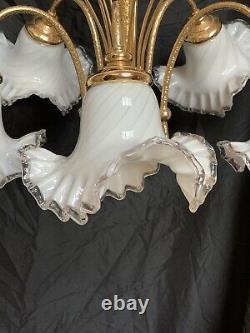 MURANO Italian Art Glass Chandelier Wheat Sheath Brass Dorothy Draper Era