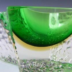 Mandruzzato Murano Faceted Green & Amber Sommerso Glass Bowl