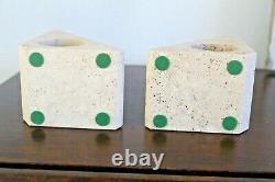 Mannelli Vtg Mid Century Modern Travertine Marble Sculpture Bookend Italy Raymor