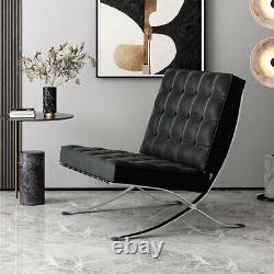 Mid Century Barcelona Style Lounge Chair & Ottoman Top Grain Italian Leather