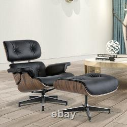 Mid-Century EAMS Lounge Chair & Ottoman Real Italian Leather Armchair Recliner