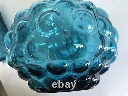 Mid Century Empoli Blue Hobnail Genie Bottle Decanter 16 Tall Made In Italy