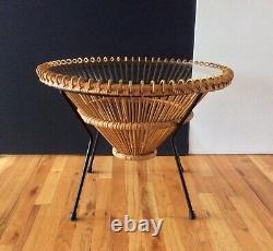 Mid Century Franco Albini Italian Woven Cane Glass Enameled Steel Side Table