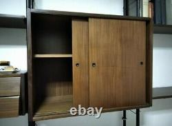 Mid Century Italian Vintage Teak metal modular WALL Unit bookcase Ico Parisi 60s