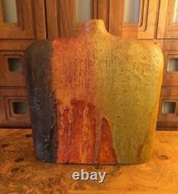 Mid Century Marcello Fantoni Lava Drip Glaze Pottery Vase For Raymor