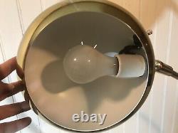 Mid Century Medium 59 Brass Arc Floor Lamp Orb Shade White Marble Base Italian