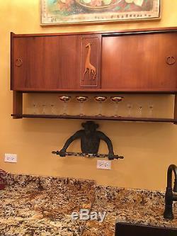 Mid Century Modern 1950 Italian Walnut/Ebony Bar Liquor Cabinet Melchiorre Bega