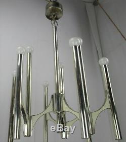 Mid Century Modern 1960s Chrome Gaetano Sciolari Chandelier 9 lights Lucite