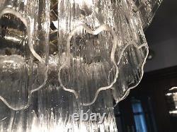 Mid Century Modern 1970's Slat Layeres Glass Tronchi Chandelier