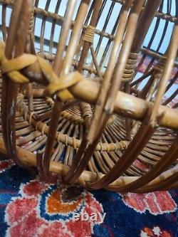 Mid Century Modern Franco Albini Large Woven Rattan Ottoman Table