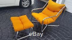 Mid Century Modern Italian 1970s Tubular Sling Chair And Ottoman Orange