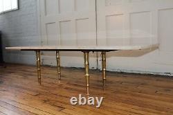 Mid Century Modern Long Travertine Marble Faux Bamboo Brass Coffee Table Italian