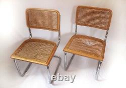 Mid Century Modern Marcel Breuer Set 2 Cane Cesca Chrome Cantilever Chairs