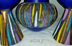 Mid Century Modern Raymor Aldo Londi Bitossi Lava Glaze Candlestick Vase Set