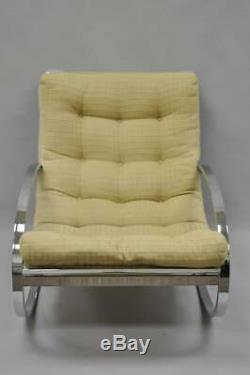 Mid Century Modern Renato Zevi Selig Ellipse Milo Baughman Chrome Rocking Chair