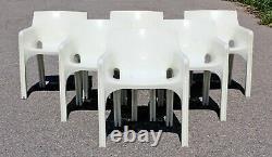Mid Century Modern Vico Magistretti Artemide Set 6 Gaudi Armchairs 1970s Italy