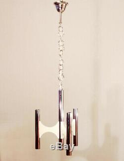 Mid Century Sciolari Chandelier 70s Stilnovo Boulanger Lightolier Italian Design