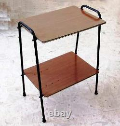 Mid Century Table Shelving Unit Vintage Design Italy 1950s 60s Coffee Wood Metal