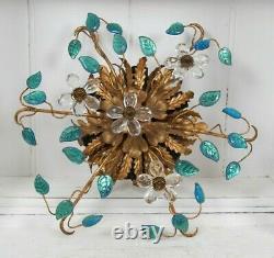 Mid century French Italian design ceiling lamp fixture Banci Murano glass gilt