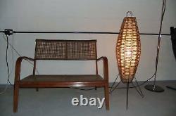 Mid century Italian FLOOR LAMP sputnik 70s eames era design mcm rattan floorlamp