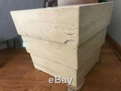 Mid century Italian travertine marble pedestal side accent end table stack unit