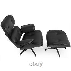 Mid century Lounge Classic Chair and Ottoman Top Italian Grain Leather